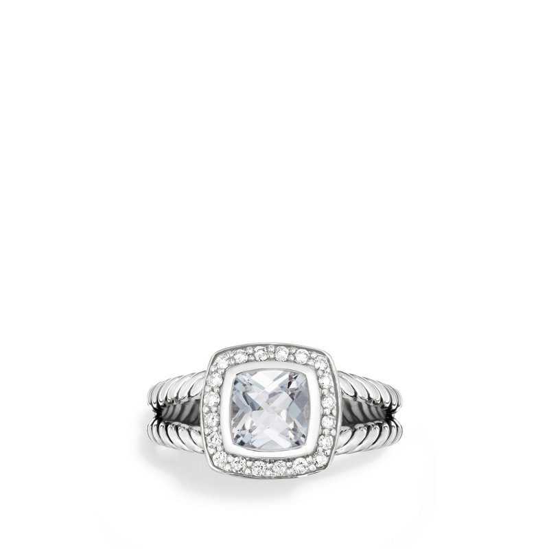 David Yurman Petite Albion Ring with White Topaz and Diamonds