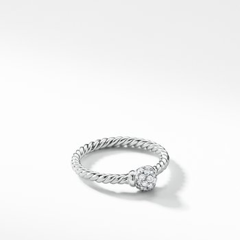 Solari Station Ring with Diamonds in 18K White Gold