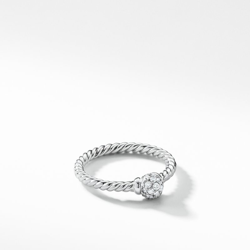 David Yurman Solari Station Ring with Diamonds in 18K White Gold