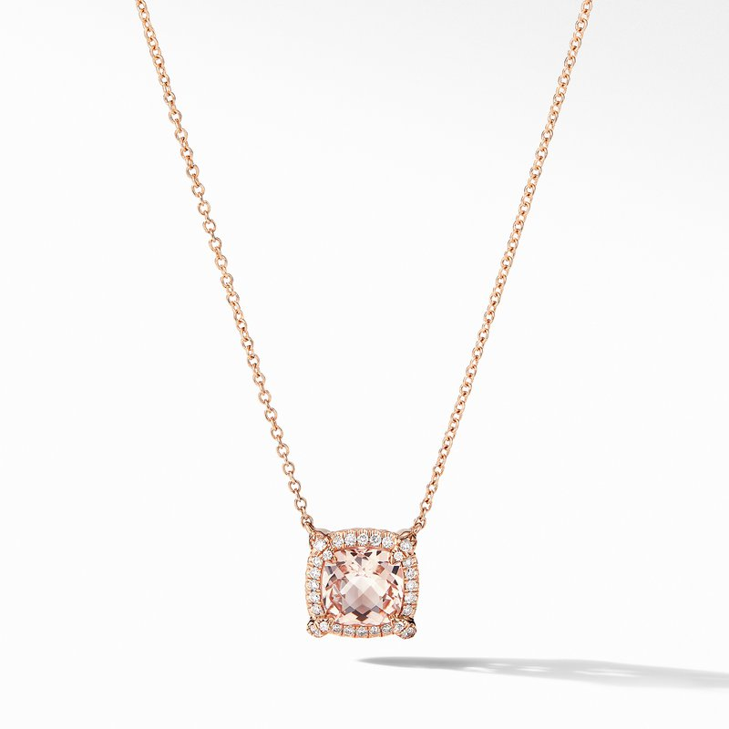 David Yurman Petite Chatelaine® Pavé Bezel Pendant Necklace in 18K Rose Gold with Morganite