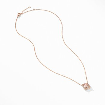 Petite Chatelaine® Pavé Bezel Pendant Necklace in 18K Rose Gold with Morganite