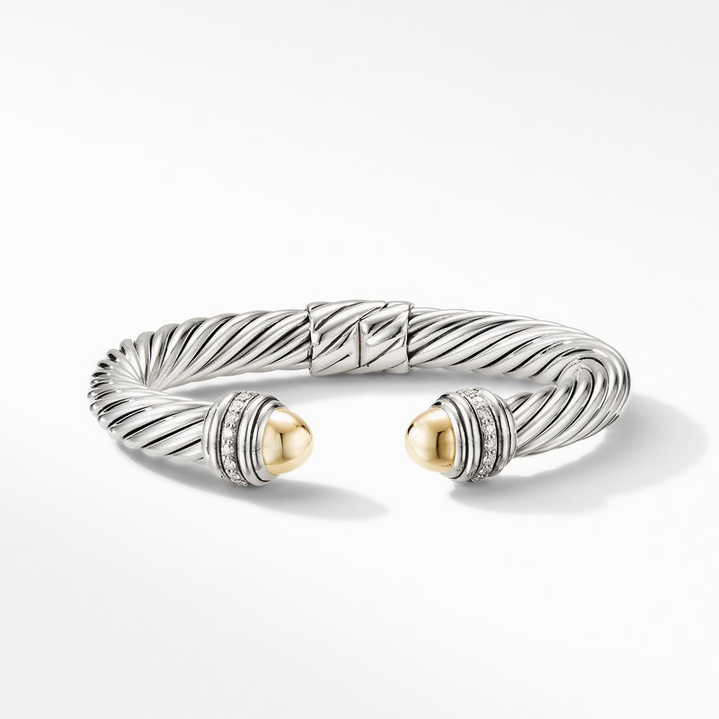 David Yurman Cable Bracelet with 18K Yellow Gold Domes and Diamonds