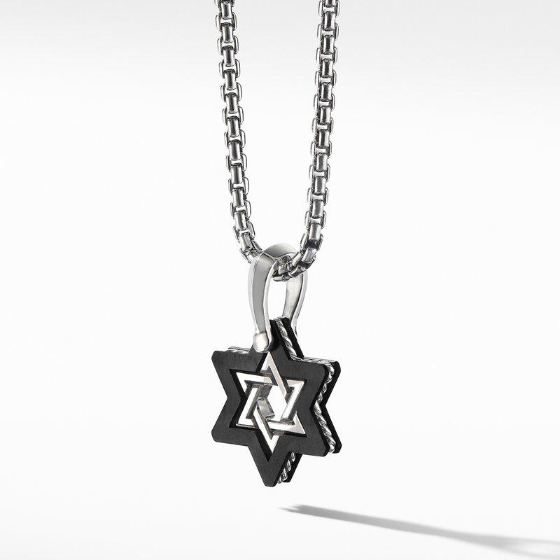David Yurman Forged Carbon Star of David Amulet