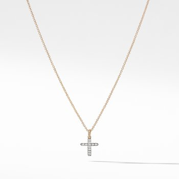 Cable Collectibles Cross with Diamonds in Gold on Chain