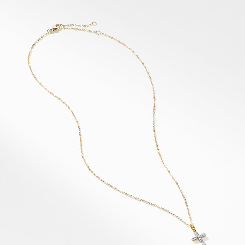 David Yurman Cable Collectibles Cross with Diamonds in Gold on Chain