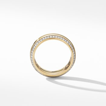 Beveled Band Ring in 18K Yellow Gold with Diamonds
