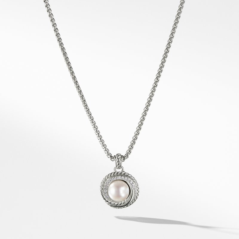 David Yurman Pearl Crossover Pendant Necklace with Diamonds