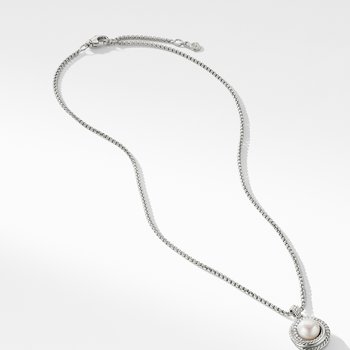 Pearl Crossover Pendant Necklace with Diamonds