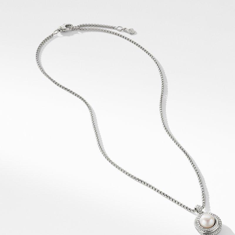 David Yurman Pearl Crossover Pendant Necklace with Diamonds