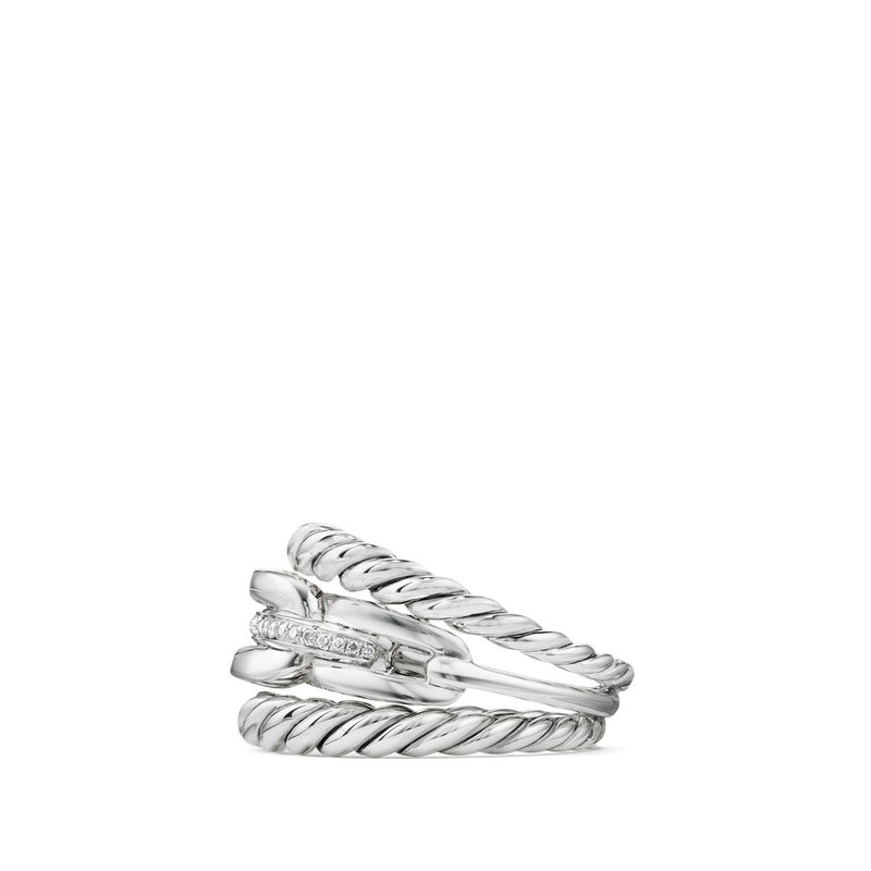 David Yurman Wellesley Link™ Three-Row Ring with Diamonds