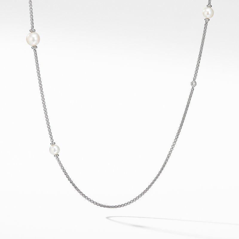 David Yurman Pearl Cluster Chain Necklace with Diamonds