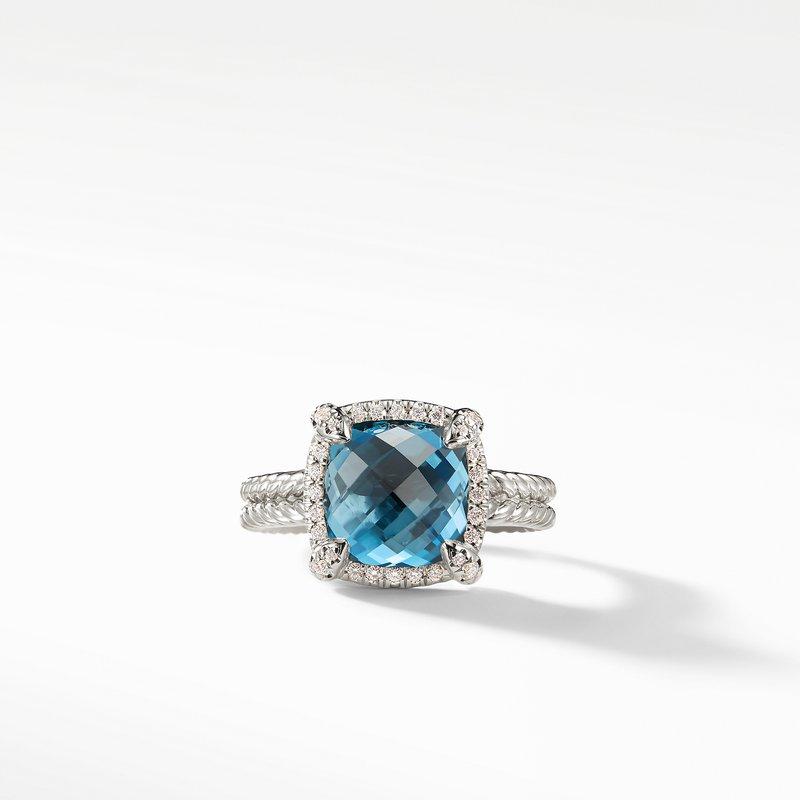 David Yurman Chatelaine® Pave Bezel Ring with Hampton Blue Topaz and Diamonds mm