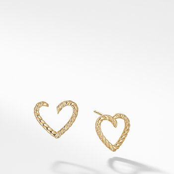Cable Heart Earring in 18K Gold