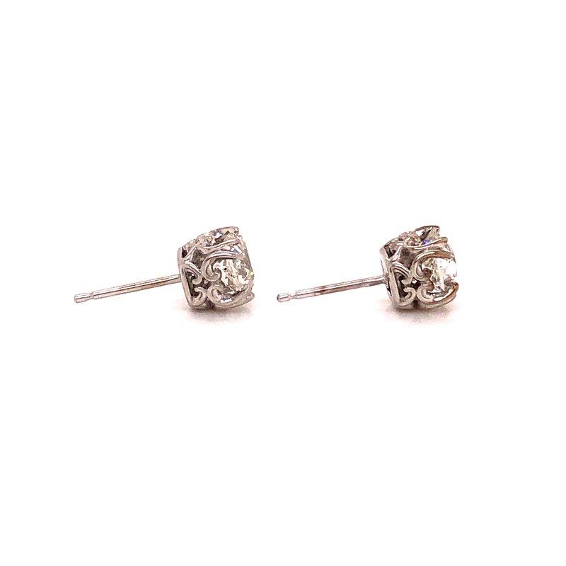 Estate & Pre-Owned Jewelry Vintage Cut Diamonds stud earrings - 1.59 Ct Old Mine Cuts