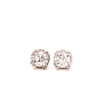 Vintage Cut Diamonds stud earrings - 1.59 Ct Old Mine Cuts