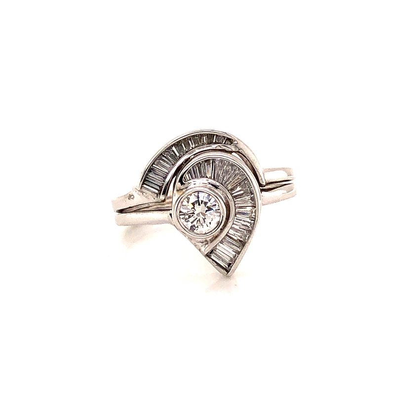 Estate & Pre-Owned Jewelry .90 ct Baguette Diamond Fashion Ring - 14K White Gold
