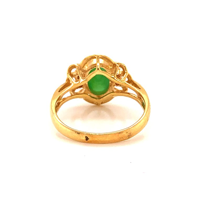 Estate & Pre-Owned Jewelry Green Jadeite Ring - 18K yellow gold