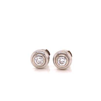 Bezel set Diamond earrings with locking backs