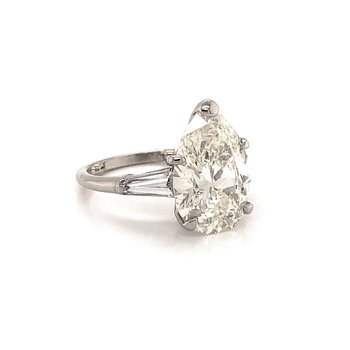 4.87 ct Pear Shape Engagement Ring - Platinum