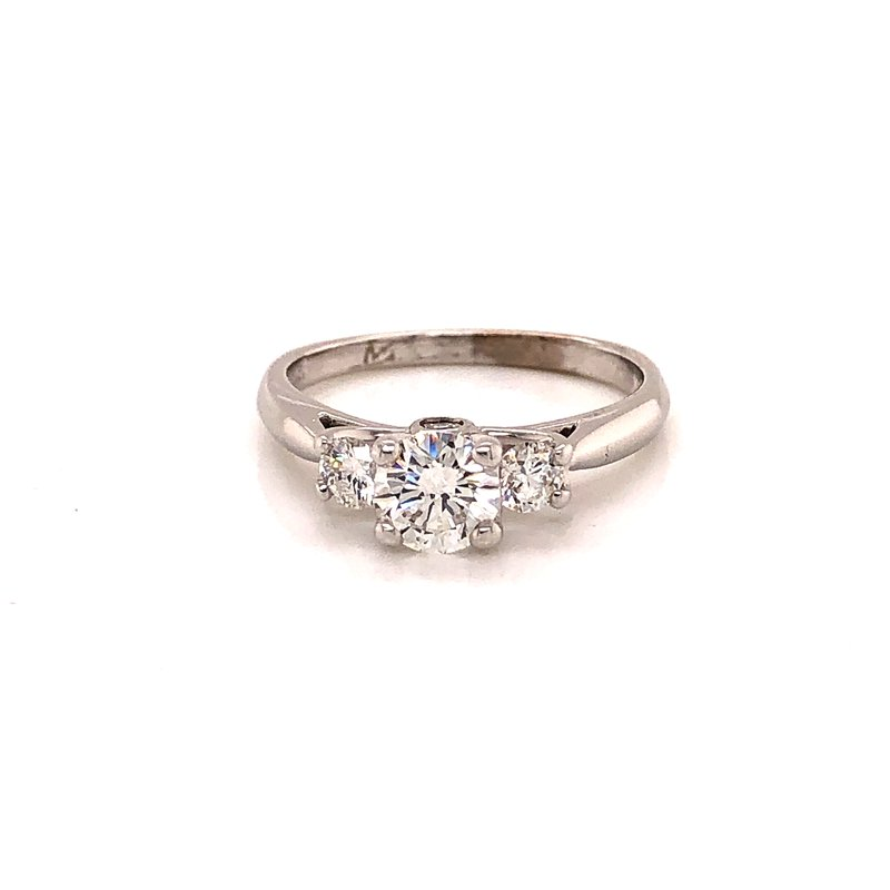Estate & Pre-Owned Jewelry .83 ct Three stone Diamond Engagement ring - 19K White gold
