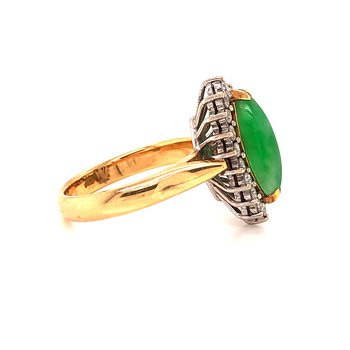 Jadeite & Diamond Ring - 14K yellow & white gold