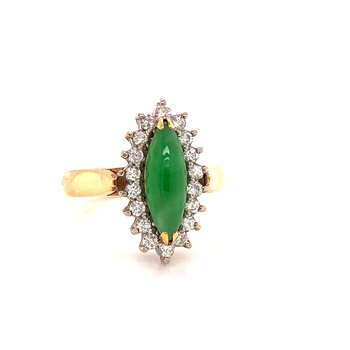 Jadeite & Diamond Ring - 14K yellow & white gold