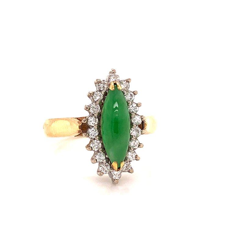 Estate & Pre-Owned Jewelry Jadeite & Diamond Ring - 14K yellow & white gold