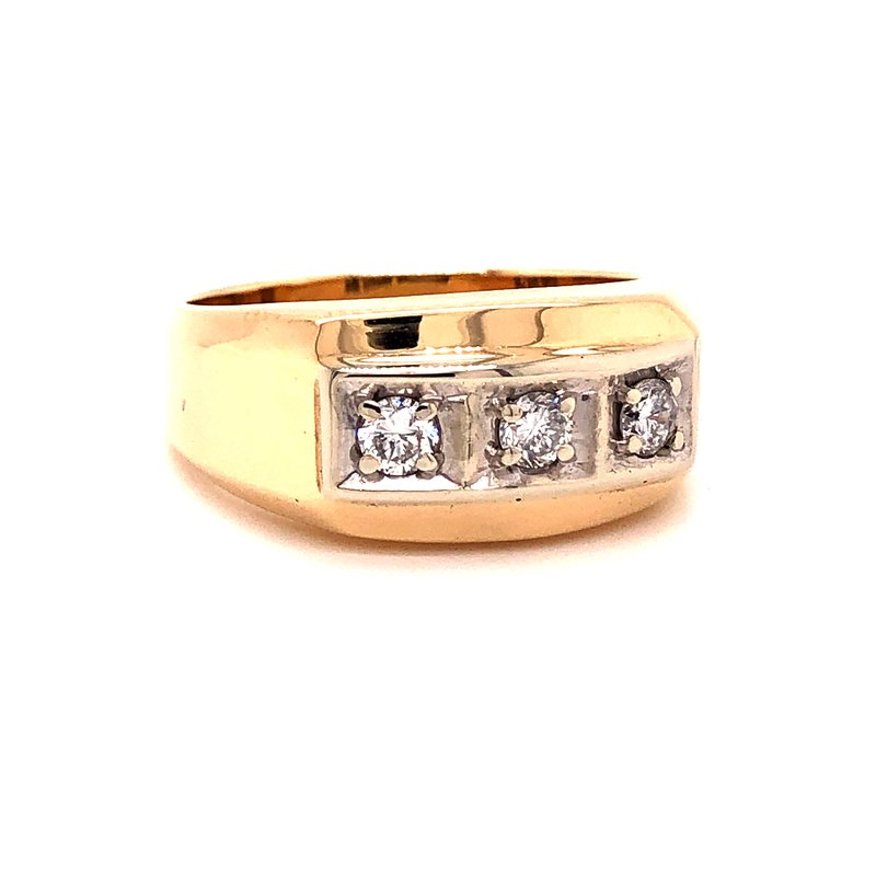Estate & Pre-Owned Jewelry Gents Diamond Ring- 14K Yellow- .45 TW