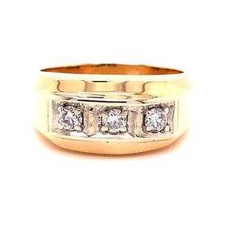 Gents Diamond Ring- 14K Yellow- .45 TW