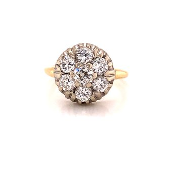 1.75 ct Diamond Cluster Ring - 14K Yellow/White Gold