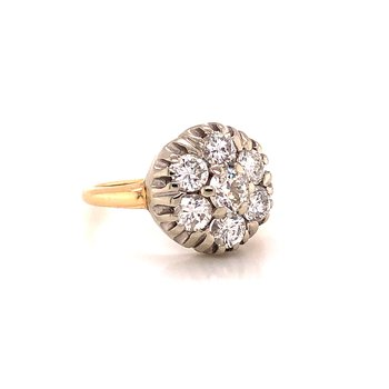 1.75 ct Diamond Cluster Ring - 14K Yellow/White Gold