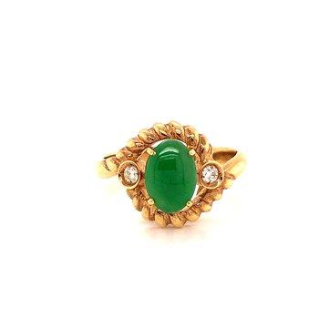Jadeite & Diamond ring - 14K Yellow Gold
