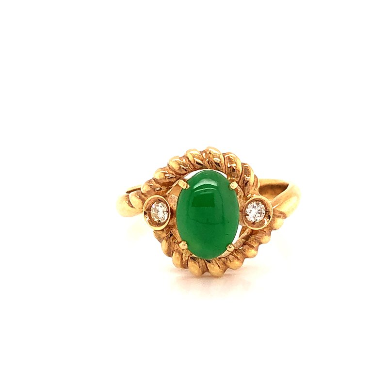 Estate & Pre-Owned Jewelry Jadeite & Diamond ring - 14K Yellow Gold