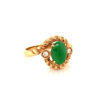Jadeite & Diamond ring - 14K Yellow Gold