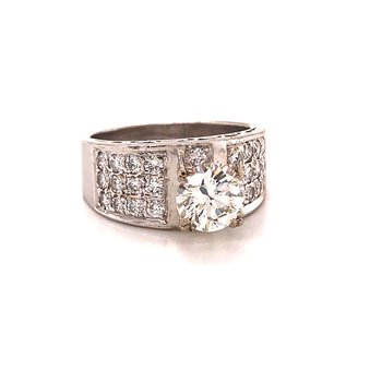 Diamond Pave Engagement ring -  18K White Gold