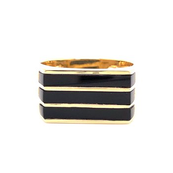 Black Jade ring - 18K yellow gold