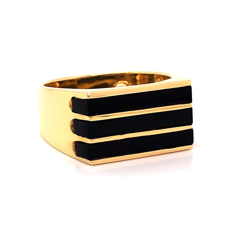 Estate & Pre-Owned Jewelry Black Jade ring - 18K yellow gold
