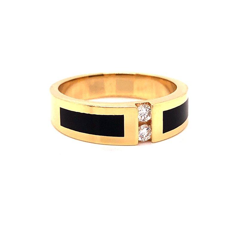 Estate & Pre-Owned Jewelry Black Jade & Diamond Ring-  14k yellow