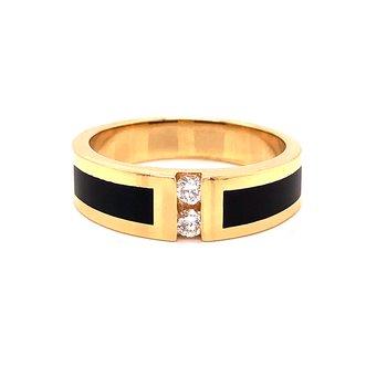 Black Jade & Diamond Ring-  14k yellow