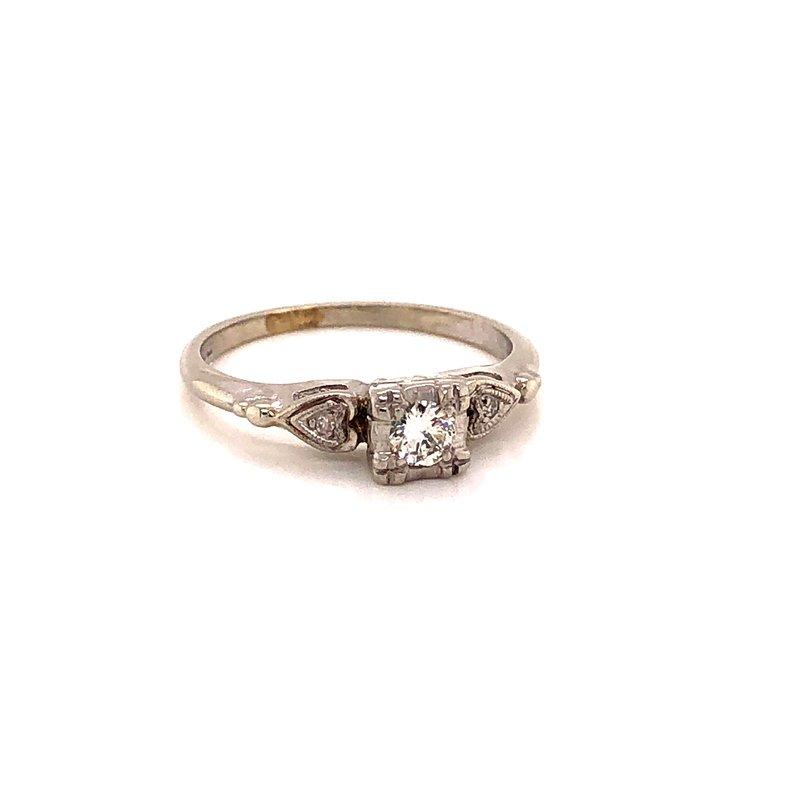 Estate & Pre-Owned Jewelry Vintage Diamond Ring - 14K White/Palladium