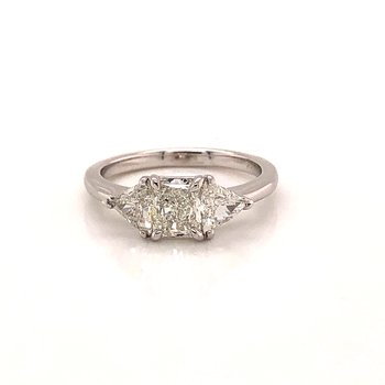1.39 ct Three Stone Diamond Ring - 14k White Gold
