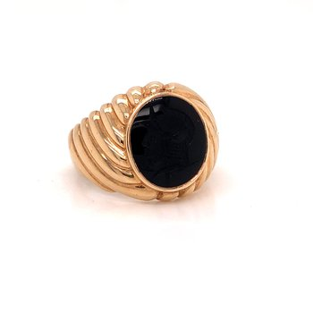 Onyx Intaglio Ring -  10K yellow gold