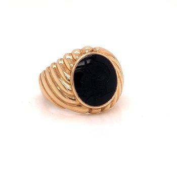 Onyx Intaglio Ring -  10K yellow gold