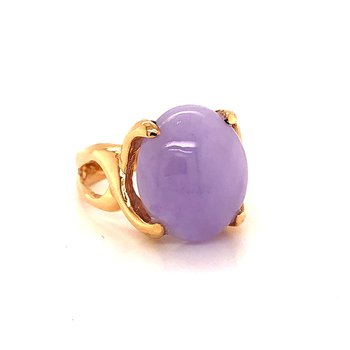 Lavender Jade Ring - 14K Yellow Gold
