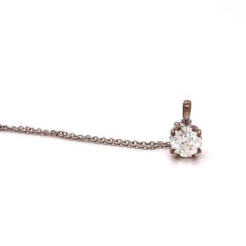 Vintage cut Diamond pendant - .88 Ct Old European cut