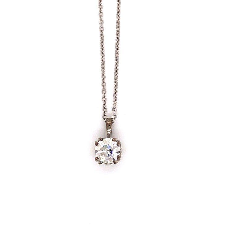 Estate & Pre-Owned Jewelry Vintage cut Diamond pendant - .88 Ct Old European cut