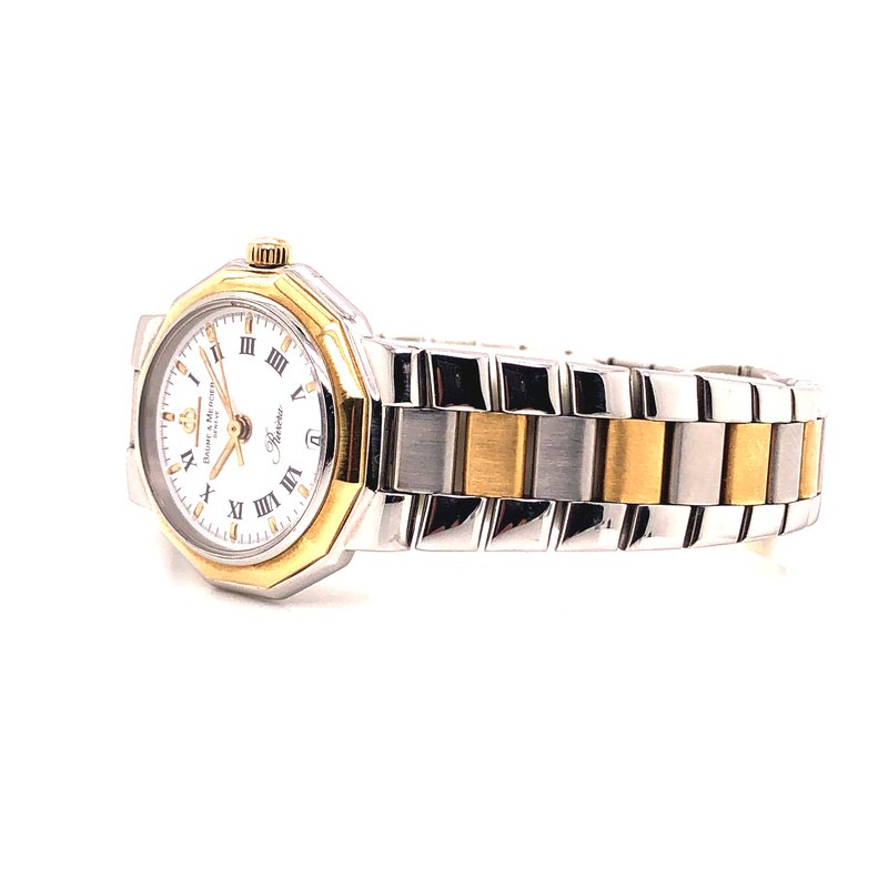Pre-Owned Watches Baume & Mercier Quartz - 24 mm - Petite Design - White Roman Dial -  Steel and 18K yellow gold