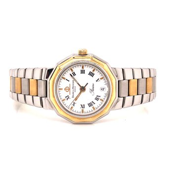 Baume & Mercier Quartz - 24 mm - Petite Design - White Roman Dial -  Steel and 18K yellow gold