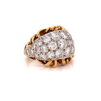 3.20 ct Domed Diamond Cocktail Ring