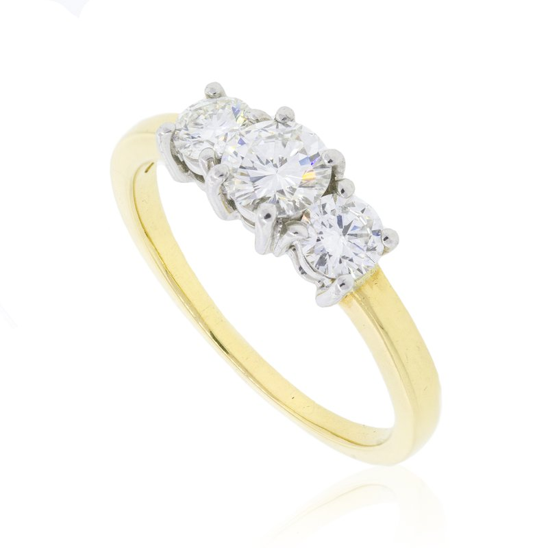 Estate & Pre-Owned Jewelry Platinum & 18k 3 Stone Ring
